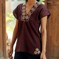 Cotton blouse, 'Mahogany Melody' - Handcrafted Short Sleeve Brown Tunic