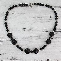 Onyx strand necklace, 'Midnight Magic' - Modern Black Onyx Necklace