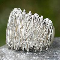 Sterling silver cocktail ring, 'Zapotec Spindle' - Sterling silver cocktail ring