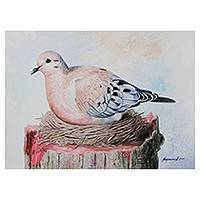 'Sheltering Life' - Original Watercolor Painting of a Mourning Dove