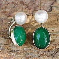 Jade and cultured pearl drop earrings,