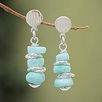 Amazonite dangle earrings,