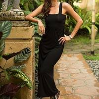 Modal maxi dress, 'Majapahit in Black' - Black Modal Maxi Sleeveless Dress with Empire Line