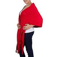 Cotton shawl, 'Radiant Red' - Fair Trade Red Cotton Wrap Shawl from Guatemala