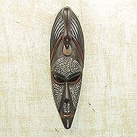 Akan wood mask, 'Good Advice' - Handmade Wood Mask