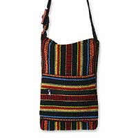 Wool shoulder bag, 'Cheerful' - Artisan Crafted Striped Wool Shoulder Bag