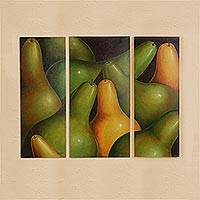 'Pears' (triptych) - Fair Trade Still Life Folk Art Painting (Triptych)