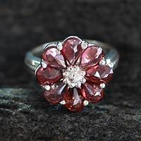 Garnet flower ring, 'Joyous Blossom' - Garnet Flower Ring Artisan Crafted with Sterling Silver