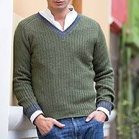 Men's alpaca blend sweater, 'Informal Green' - Men's Handcrafted Peruvian Alpaca Wool Solid Pullover
