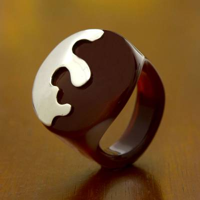 Hand Crafted Sterling Silver and Caramel Agate Cocktail Ring