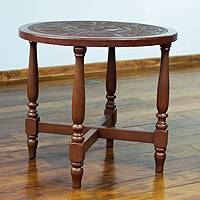 Mohena wood and leather end table, 'Ceremonial Blade' - Mohena wood and leather end table