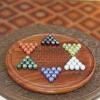 Wood Chinese checkers, 'Strategy Time' - Wood Chinese Checker Handmade Table Game