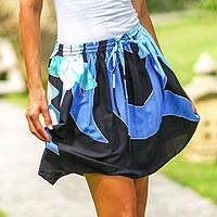 Skirt, 'Blue Plumeria' - Hand Painted Drawstring Skirt