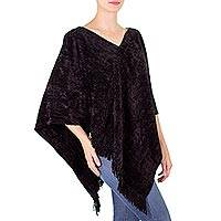 Cotton and bamboo chenille poncho, 'Magical Night' - Black Handcrafted Cotton Bamboo Fiber Blend Poncho