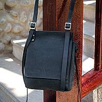 Leather messenger bag, 'Basic Style' - Handcrafted Black Leather Messenger Bag Purse from Peru
