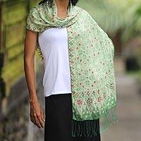 Silk batik shawl, 'Emerald Garden' - Unique Indonesian Women's Batik Silk Shawl