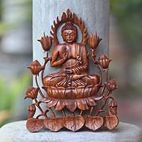 Wood relief panel, 'Enlightened Buddha' - Balinese Hand Carved Buddha Relief Panel