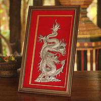 Aluminum repousse panel, 'The Dragon and the Pearl' - Aluminum Repousse Panel