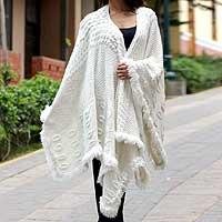 100% alpaca ruana cloak,