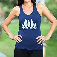 Jersey tank top, 'Navy Lotus Harmony' - Blue Jersey Knit Yoga Tank Top