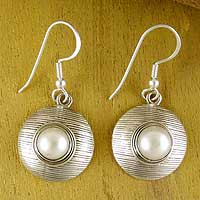 Cultured pearl dangle earrings, 'Morning Kiss' - Cultured Pearl and Sterling Silver Dangle Earrings
