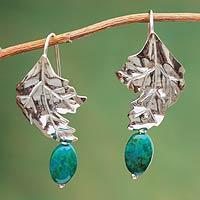 Chrysocolla flower earrings,