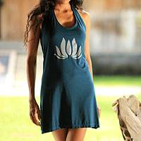 Jersey mini dress, 'Lotus Yoga in Teal' - Floral Jersey Knit Dress in Teal