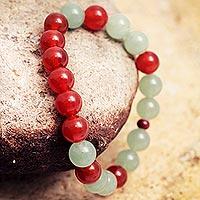 Agate and aventurine stretch bracelet,
