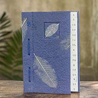 Saa paper address book, 'Heavenly Nature' - Artisan Crafted Thai Blue Saa Paper Address Book