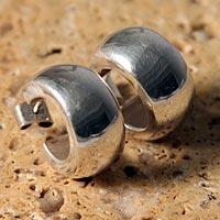 Silver half hoop earrings,