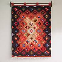 Wool tapestry, 'Zodiac' - Wool tapestry