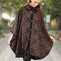 Alpaca blend ruana cloak, 'Piura Flora' - Hand Made Women's Alpaca Wool Blend Ruana Cloak