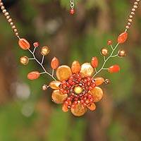 Cultured pearl and carnelian flower necklace, 'Caramel Fantasy' - Cultured Pearl and Carnelian Flower Necklace