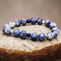 Sodalite and serpentine stretch bracelet,