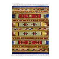 Zapotec wool rug, 'Colorful Universe' (6.5x10) - Hand Loomed Wool Zapotec Rug with Natural Dyes (6.5x10)