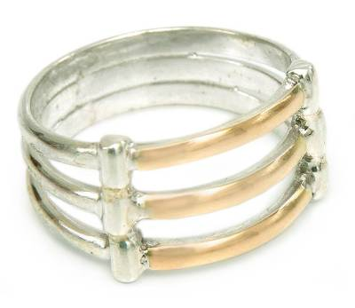 Gold accent band ring, 'Cuzco Warmth' - Hand Made 18K Gold Accent Sterling Silver Band Ring