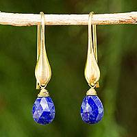 Gold vermeil lapis lazuli dangle earrings,