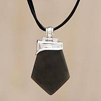 Obsidian pendant necklace,