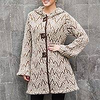 Alpaca blend hooded sweater coat, 'Earthen Hills' - Earthen Hills