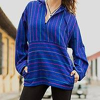 Cotton hoodie pullover, 'Blue Mermaid' - Unique Women's Cotton Pullover Tunic Top