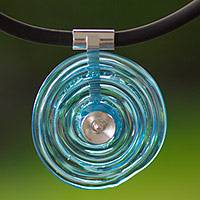 Dichroic art glass pendant necklace, 'Sky Halo' - Hand Made Sterling Silver and Art Glass Pendant Necklace