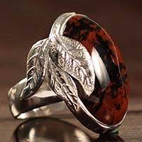 Mahogany obsidian cocktail ring, 'Black Coffee' - Mahogany Obsidian Cocktail Ring