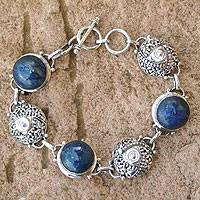 Lapis lazuli link bracelet, 'Moons and Shields' - Artisan Crafted Sterling Silver and Lapis Lazuli Bracelet