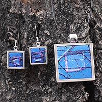 Dichroic art glass jewelry set,