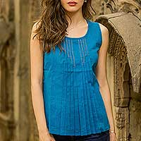 Cotton blouse, 'Varkala Sea' - Hand Woven Blue Cotton Sleeveless Blouse from India