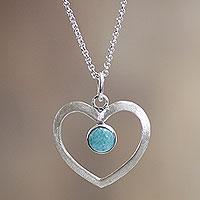 Amazonite heart necklace,