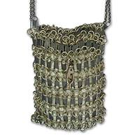 Zipper shoulder bag, 'Golden Treasure' - Zipper shoulder bag
