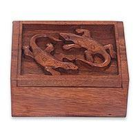 Wood box, 'Gecko Twins' - Hand Carved Wood Box with Gecko Relief Sculpture on Lid