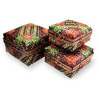 Bamboo baskets, 'Javanese Princess' (set of 3) - Bamboo baskets (Set of 3)