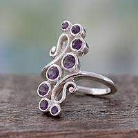 Amethyst cocktail ring, 'Wisteria Tendrils' - Handcrafted Silver Statement Cocktail Ring with 8 Amethysts